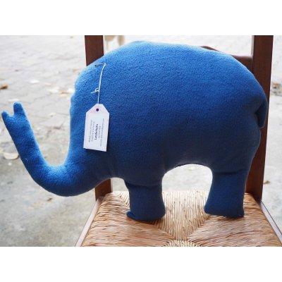Eléphant,  tissu bleu foncé animaux savane, 50x38x10cm, tout doux