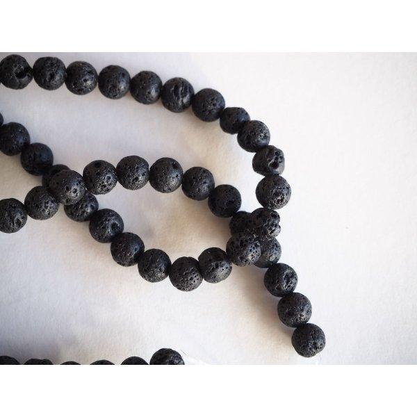 Enfilade 62 perles 6mm lave noire,  42cm de long