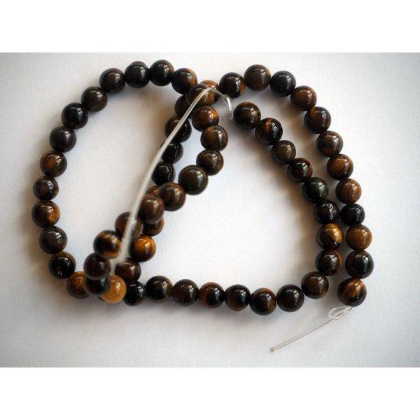 Enfilade perles 6mm OEIL DE TIGRE, 64perles environ, 39cm de long