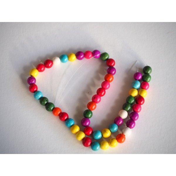 Enfilade 50 perles 8mm HOWLITE multicolores,  42cm de long