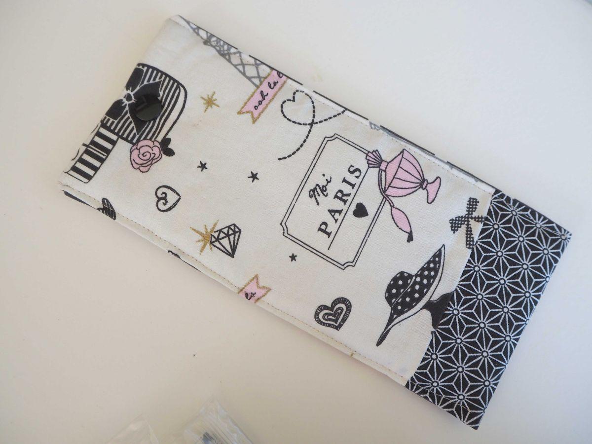 Etui lunettes en tissu, coton la Parisienne, int gris pois blancs, 20x10cm