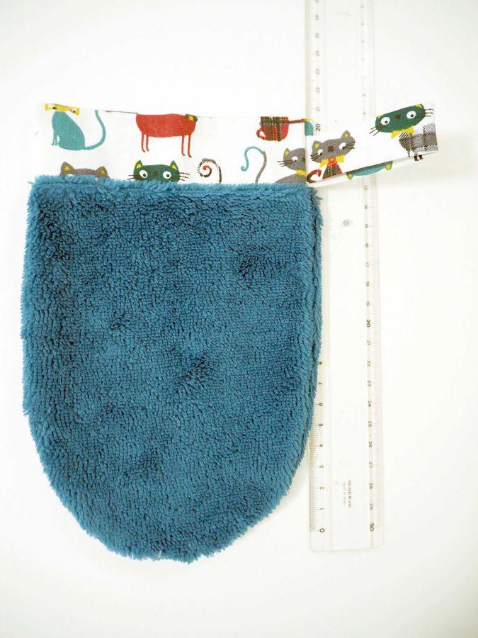 Gant démaquillant/toilette, éponge Bambou/polyester, coton, ton vert émeraude, chatss