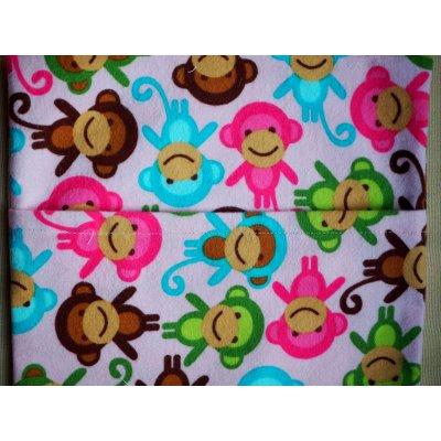 Grande bouillotte sèche en Flanelle, rose pâle avec singes, 22x30cm