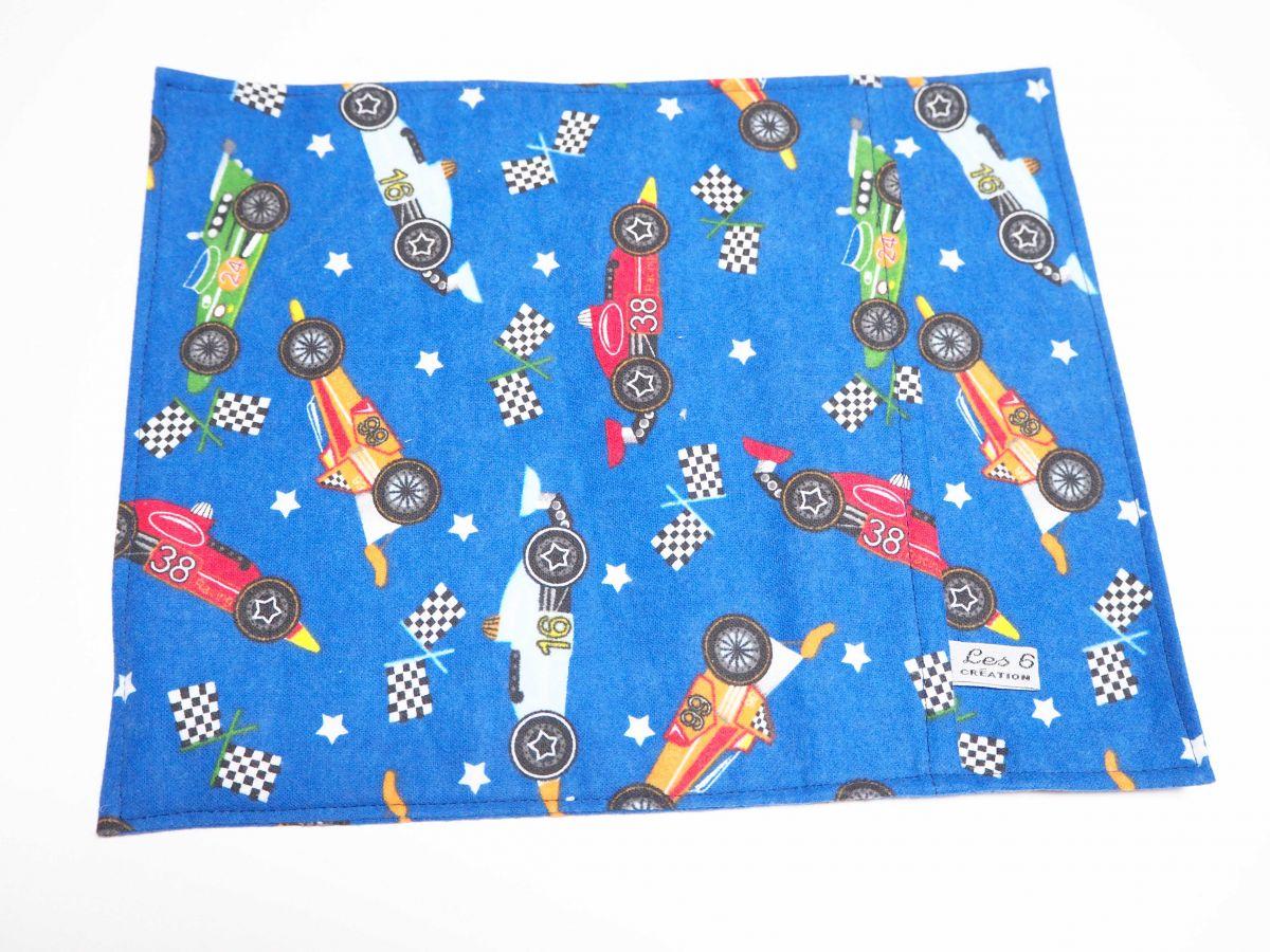 Grande bouillotte sèche en Flanelle, bleu marine course voitures, 23x30cm