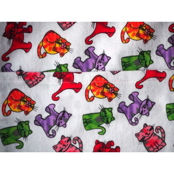 Grande bouillotte sèche en Flanelle, chats multicolores, 22x30cm