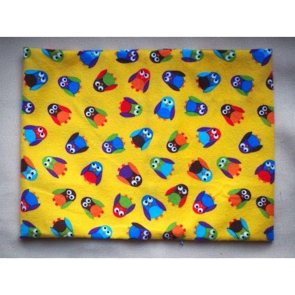 Grande bouillotte sèche en Flanelle, jaune avec chouettes multicolores, 22x30cm