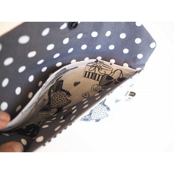 Grande pochette avec poche int , coton la Parisienne taupe21x13cm, doublé gris pois blancs