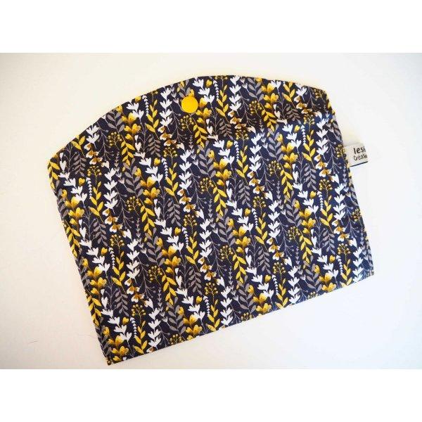 Grande pochette avec poche int , coton feuillage taupe/jaune21x13cm, doublé petits pois