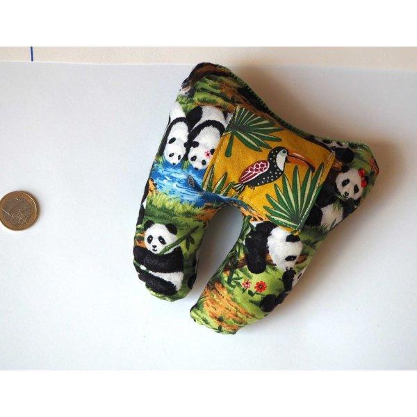 Grosse DENT tissu avec poche pour pièce, 12x13x5cm, motifs pandas/toucan