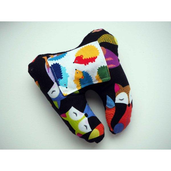 Grosse DENT tissu avec poche pour pièce, 12x13x5cm, motifs renards/hérissons