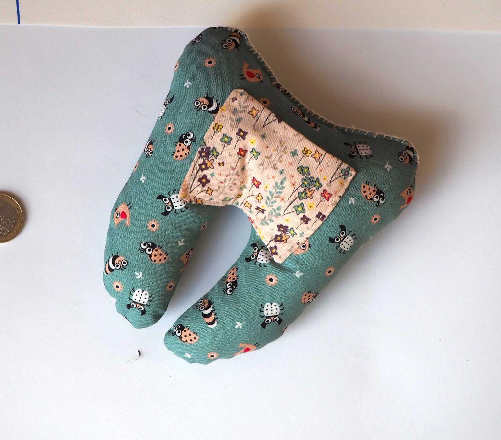 Grosse DENT tissu avec poche pour pièce, 12x13x5cm, motifs fleurs bleu/rose