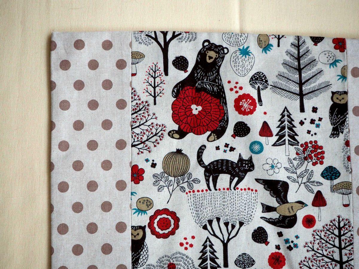 HOUSSE de coussin 39x41cm, ours, marron/rouge