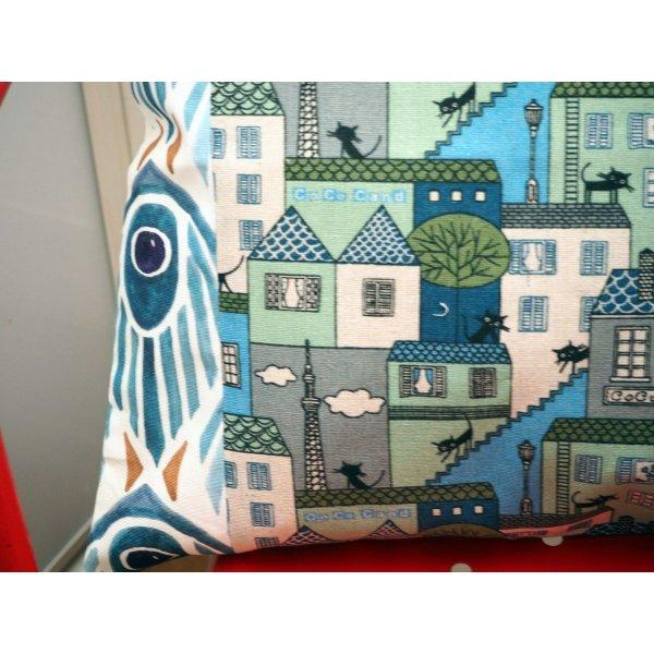 HOUSSE de coussin 39x44cm, chats tons bleus