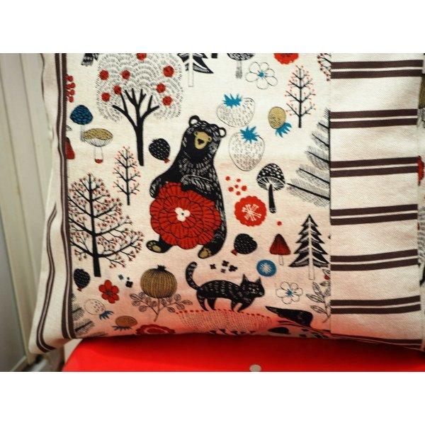 HOUSSE de coussin 40x41cm, ours, marron/rouge