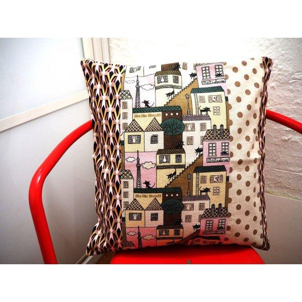 HOUSSE de coussin 41x43cm, Chat, tons rosés
