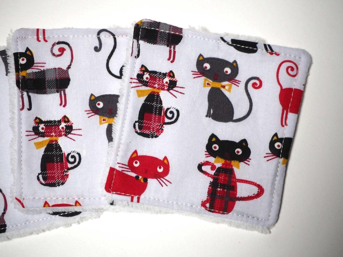 Lingette démaquillante lavable, chats rouges/noirs