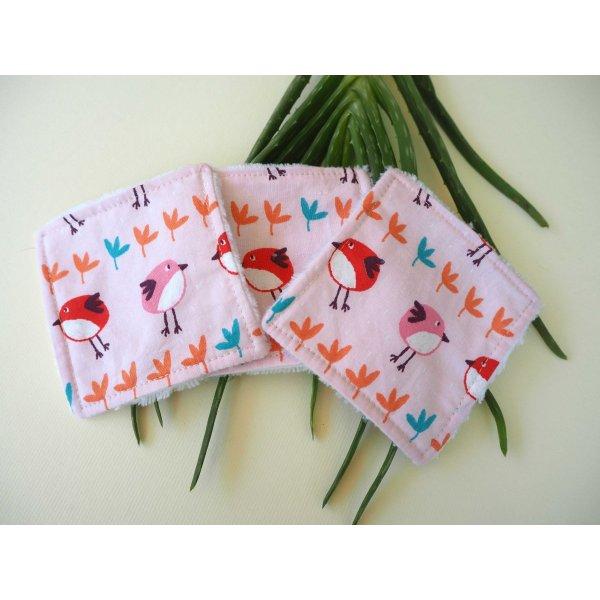 Lingette démaquillante lavable, tissu rose avec oiseaux