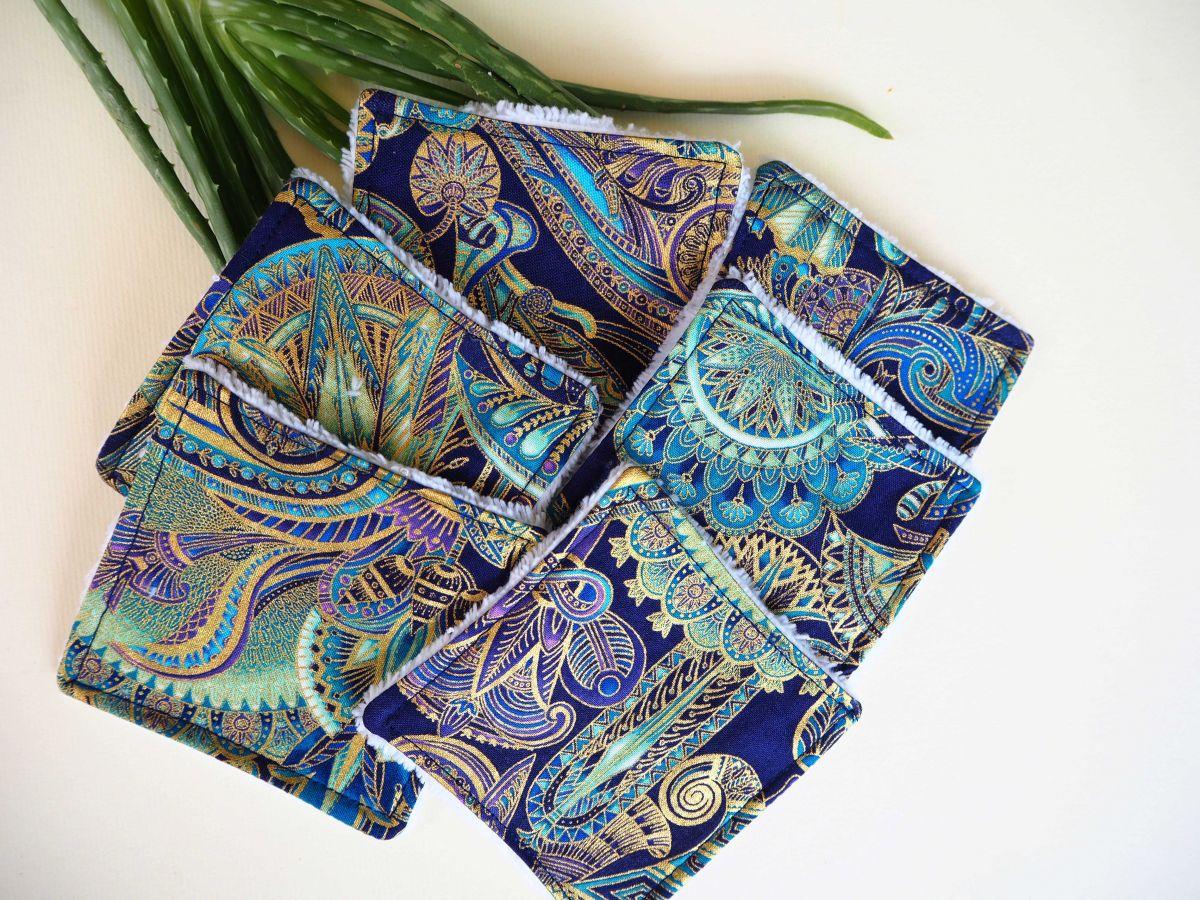 Lingette démaquillante lavable, tissu japonais fil doré ton bleu