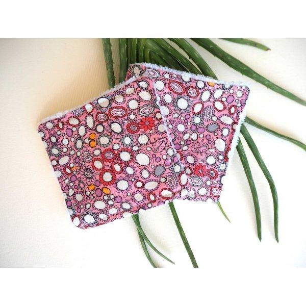 Lingette démaquillante lavable, tissu rose avec bulles