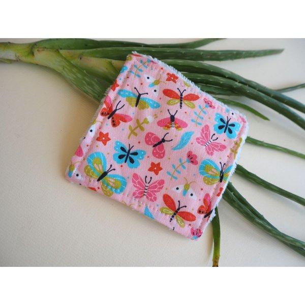 Lingette démaquillante lavable, tissu papillons et fleurs