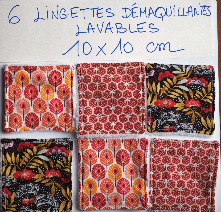 6 lingettes démaquillantes lavables,