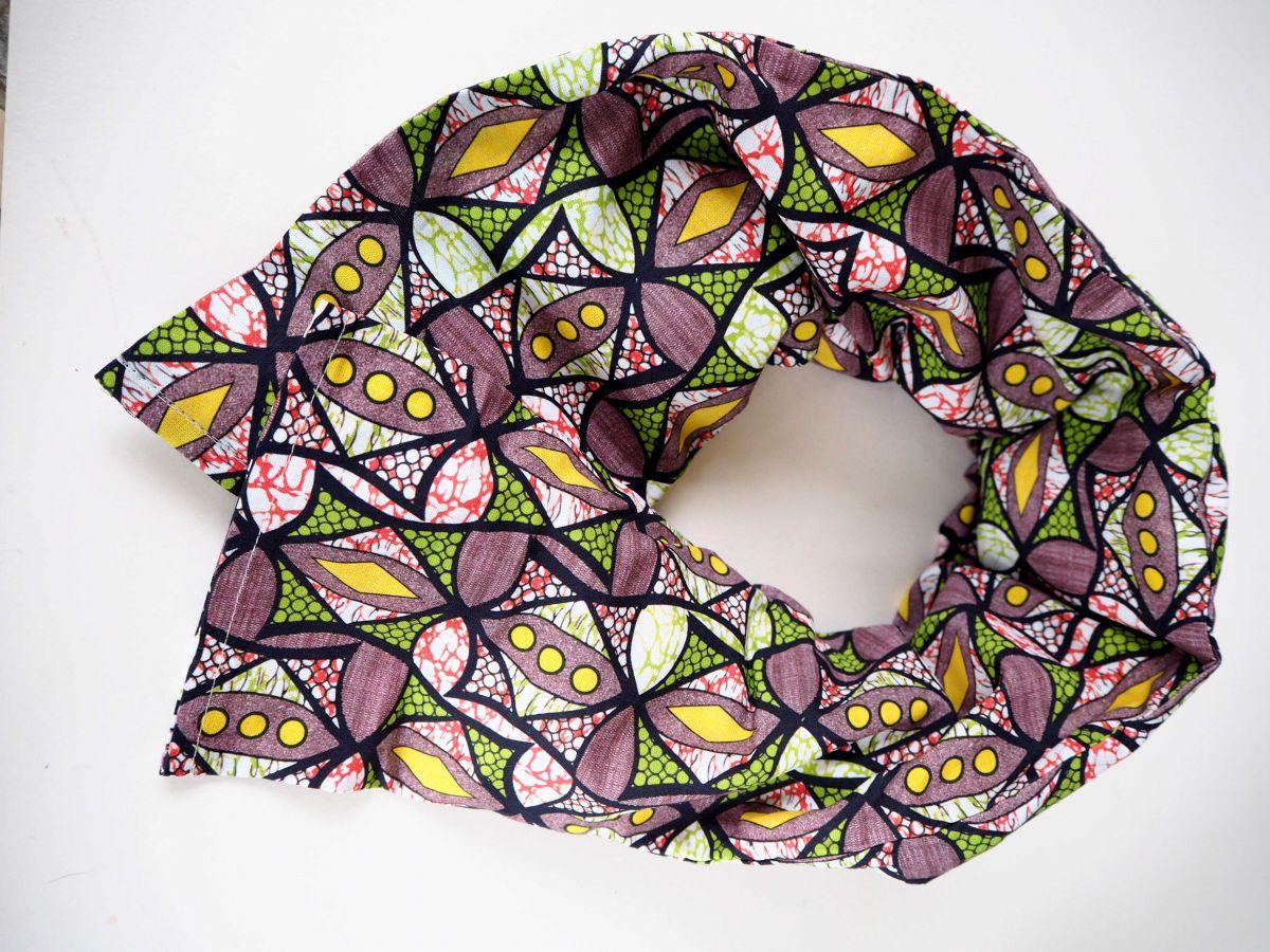 Longue Bouillotte séche pour cervicales, déhoussable, coton motifs africains
