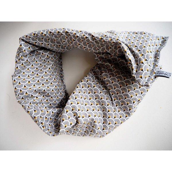 Longue Bouillotte séche pour cervicales, déhoussable, coton motifs  japonisants éventails gris