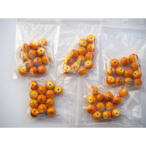 Lot 12  Perles verre  jaune 10mm avec traits colorés, collier bracelet
