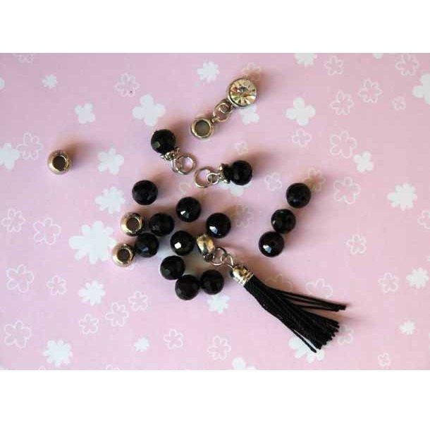 Lot de 17 Perles verre noires et métal de styles différents cristal et breloques pour collier ou bracelet tressé