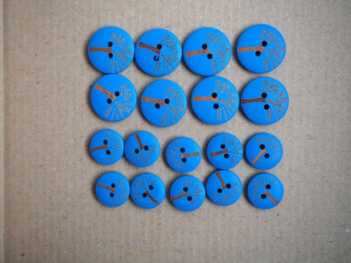 LOT Boutons bois turquoise foncé,8x20mm et 10x15mm