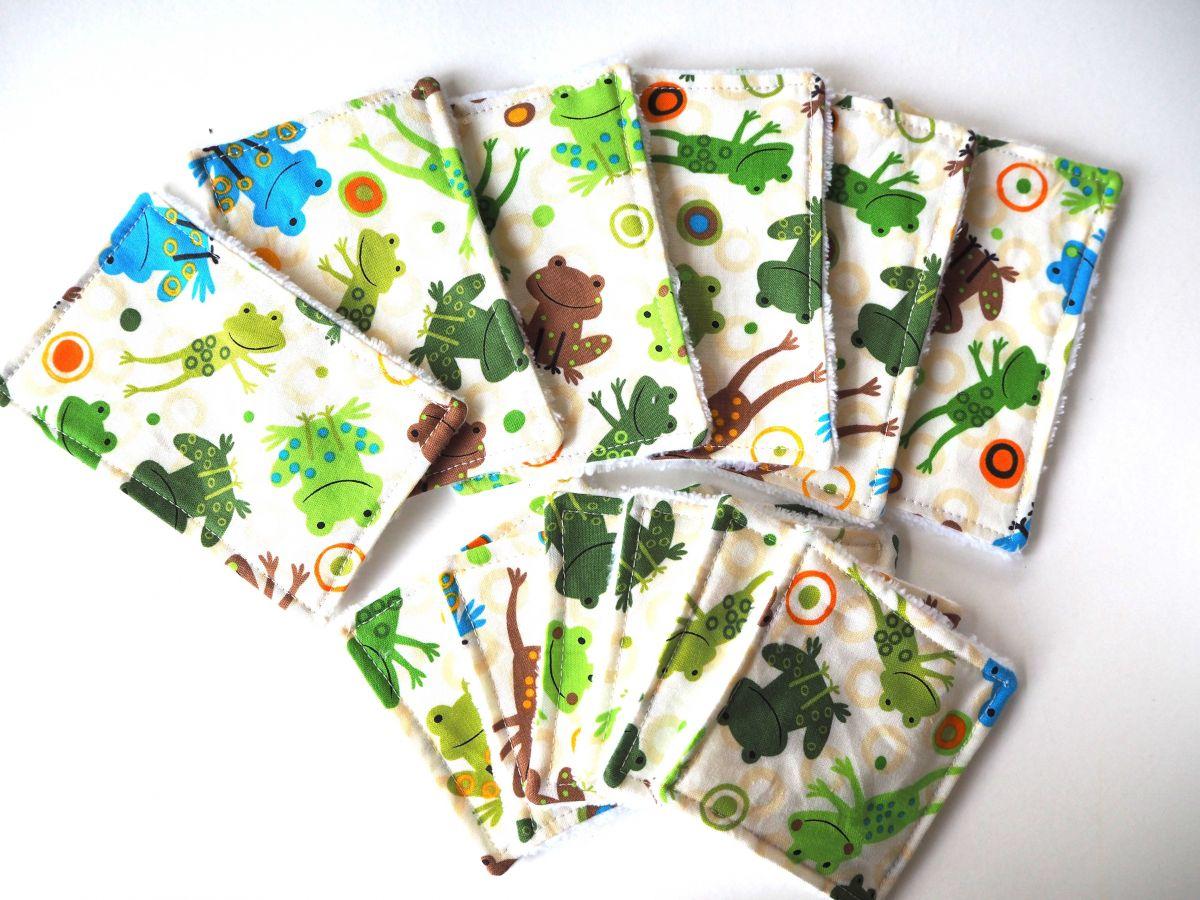 Lot de 12 lingettes nettoyantes bébé/enfant, grenouilles ton vert