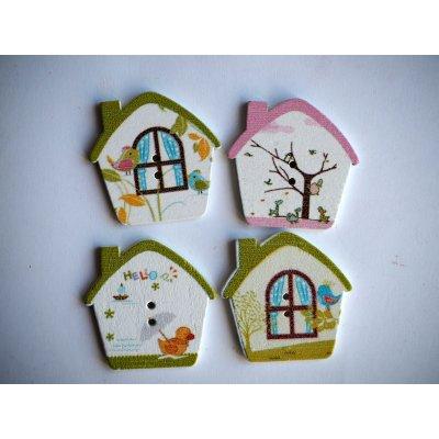 Lot 4 Nichoirs Oiseaux, 2,5x2,5cm, tous différents, customisation, couture