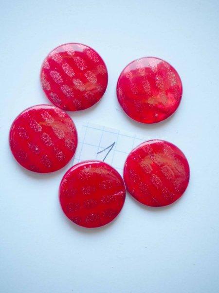 Lot 6 perles NACRE, 20mm,  tons rouge orangé nuancé, trou transversal+/-1mm