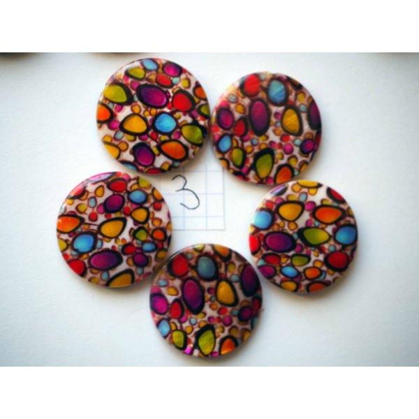 Lot 5 perles NACRE, 25mm,  taches multicolores , trou transversal+/-1mm