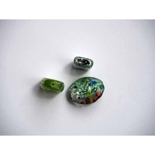 Lot de 3 Perles verre assez grosses , italian style, ovale et rectangles avec feuille d'argent