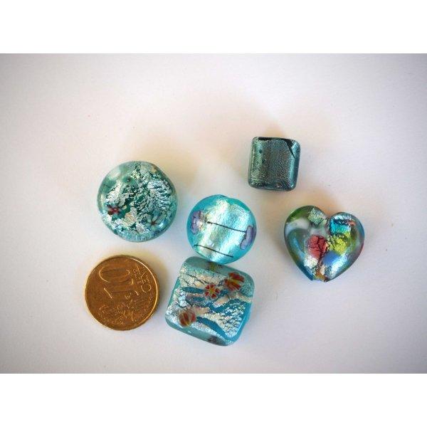 Perle plate Ourson Nounours Perle en bois de 20 mm Bleu clair