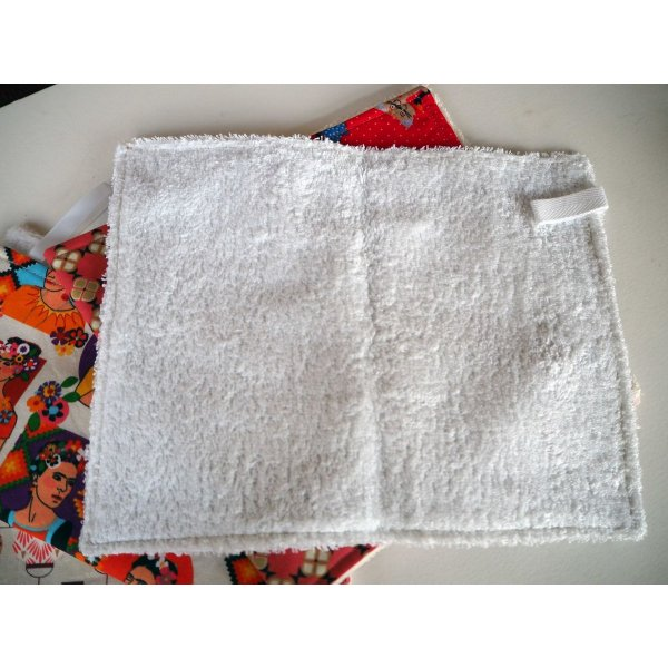 lot de 5 serviettes essuie-tout, coton-éponge, lavable, tons rouges