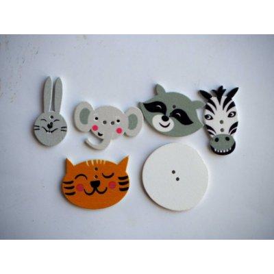 Lot 6 têtes d'animaux de 30 à 20mm , éléphant lion raton  lapin zébre tigre,customisation, couture