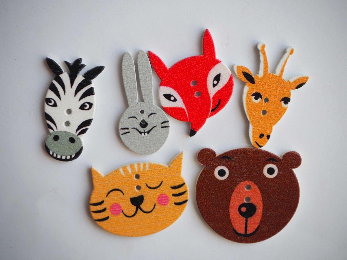 Lot 6 têtes d'animaux de 30 à 20mm , renard ours lapin zébre tigre girafe,customisation, couture