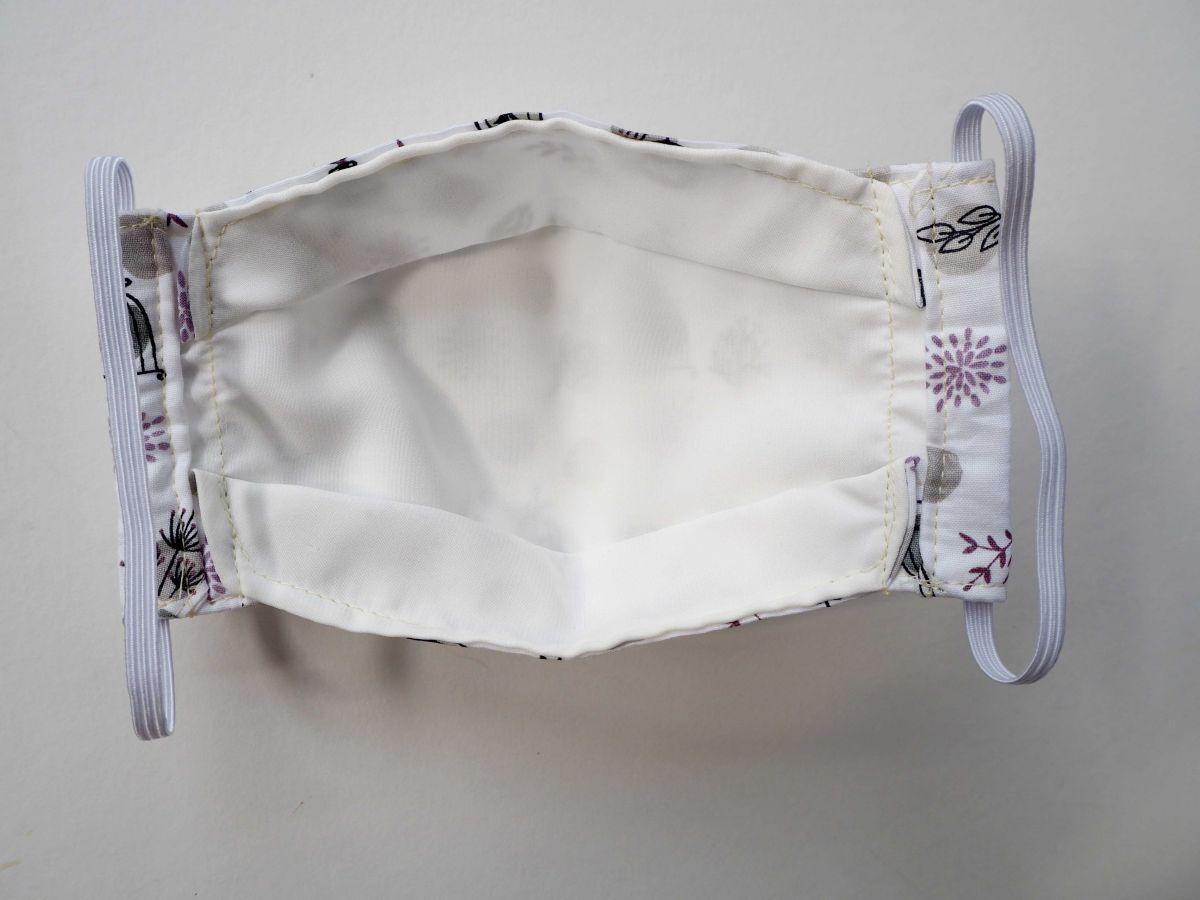 Masque 3D M, Face coton, dos crêpe, blanc avec oiseaux et cages
