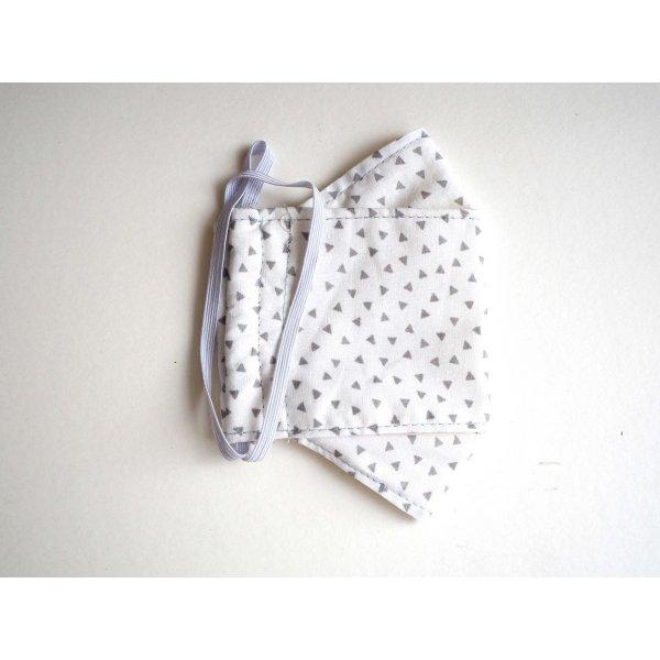 Masque 3D M, Face coton, dos crêpe, blanc petits triangles gris