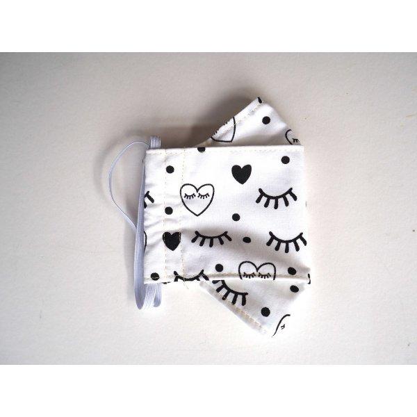 Masque 3D M, Face coton, dos crêpe, blanc cils et coeurs noirs