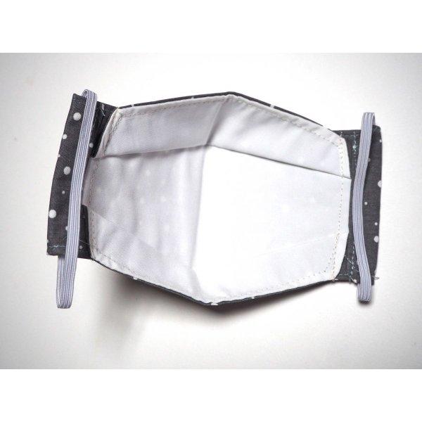 Masque 3D M, Face coton, dos crêpe, gris pois blancs