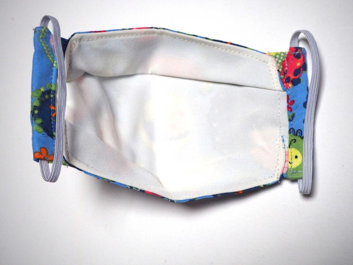 Masque 3D M, Face coton, dos crêpe, bleu médaillons