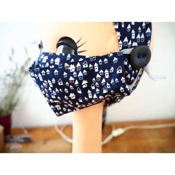 Masque 3D M, Face coton, dos crêpe, bleu marine avec maisons, pour femme, ado