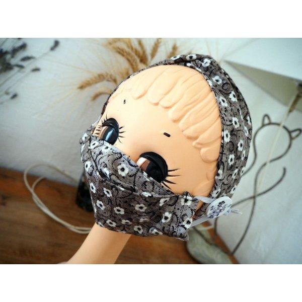 Masque 3D M, Face coton, dos crêpe, noir/gris avec fleurs, pour femme, ado