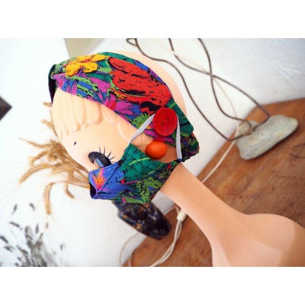 Masque 3D M, Face coton, dos crêpe, noir avec fleurs colorées