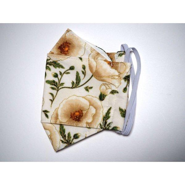 Masque 3D M, Face coton, dos crêpe, écru/fleurs/doré