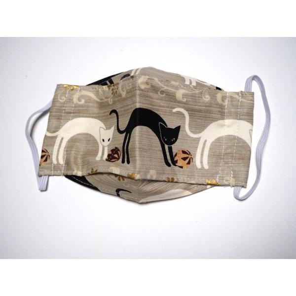 Masque 3D M, Face coton, dos crêpe, beige/chats