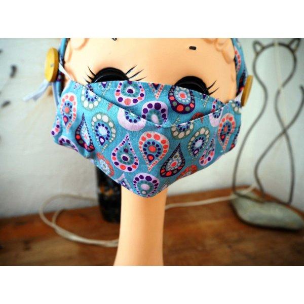 Masque 3D M, Face coton, dos crêpe, bleu avec gouttes, pour femme, ado